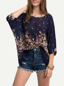 Flower Print Semi-Sheer Poncho Blouse - Blue