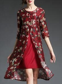 Burgundy Floral Shift Silk Dress