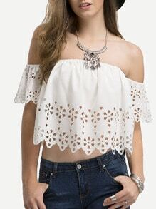Beige Off The Shoulder Hollow Crop Tank Top