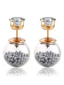 Rhinestone Double Sided Earrings - Silver