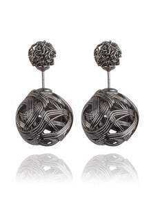 Knot Ball Double Sided Earrings - Gunmetal Plated