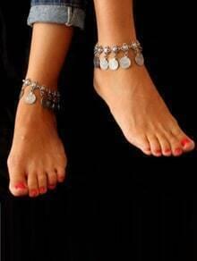 Antique Silver Coin Tassel Vintage Anklet 1pcs