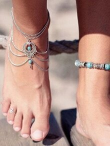 Antique Silver Turquoise WaterDrop Layered Anklet
