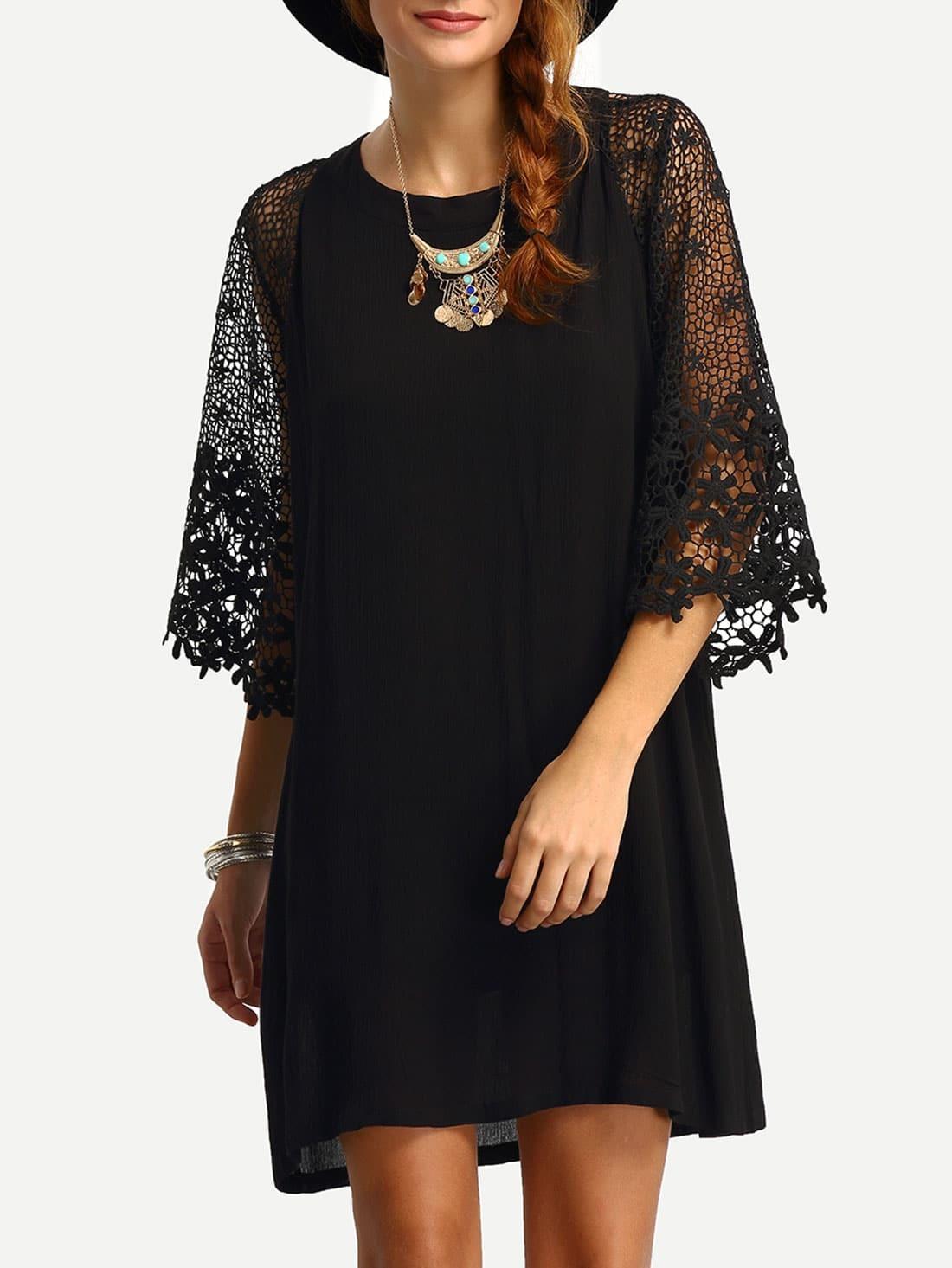 Hollow Out Crochet Sleeve Tunic Dress EmmaCloth-Women Fast Fashion ...