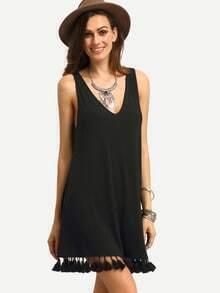 Black Tassel Hem V Back Shift Dress