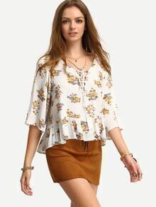 Floral Print In White Ruffle Hem Blouse