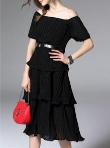 Black Off The Shoulder Belted Ruffle Pleated Dress