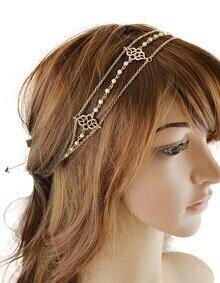 Gold Chain Ribbon Pearl Hairwear