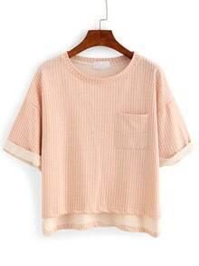 Vertical Striped High-Low Pocket T-shirt - Pink