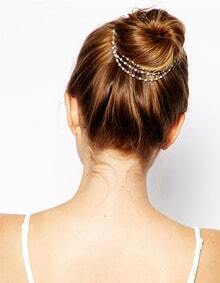 Multilayers Small Pearl Chain Hair Clips