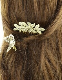 Gold Plated Flower Shape Hair Comb