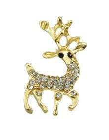 Rhinestone Small Deer Brooch