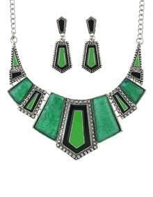 Green Geometric Maxi Jewelry Set