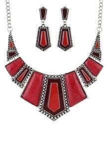 Red Geometric Maxi Jewelry Set