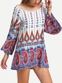 Multicolor Vintage Print Bell Sleeve Shift Dress