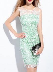 Green Crew Neck Gauze Lace Dress