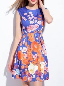Blue Floral A-Line Dress