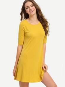 Yellow Half Sleeve Hollow Back Dress