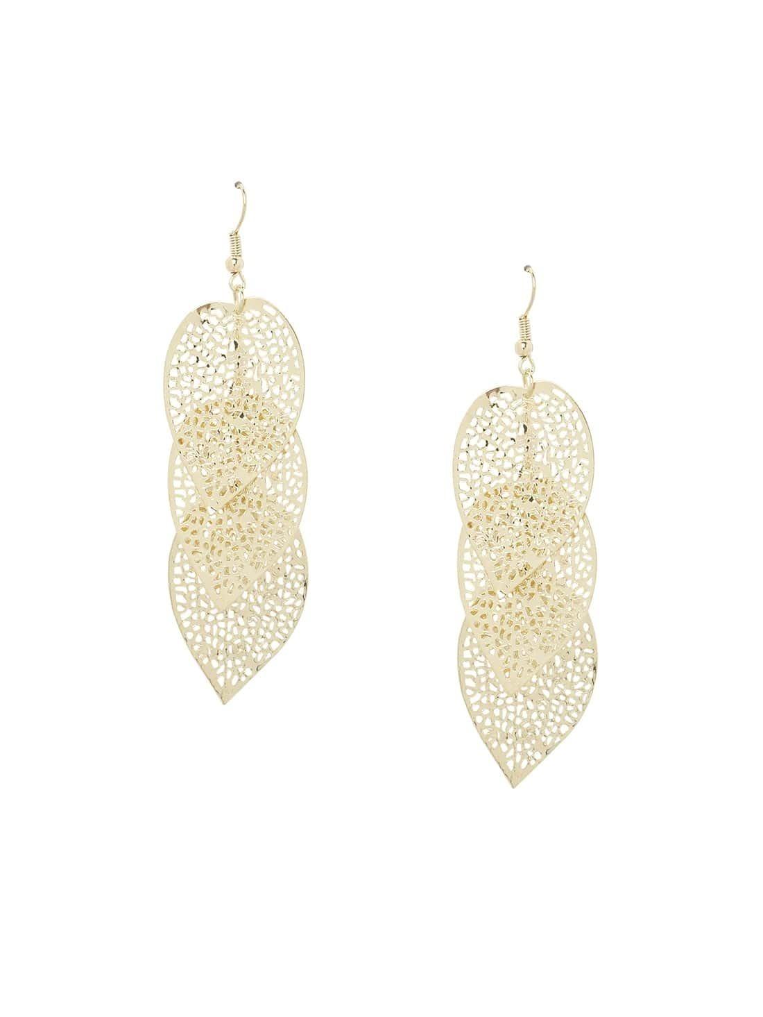 tiered cutout leaf drop earrings gold emmacloth women fast
