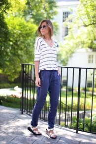 Black White Striped Half Sleeve T-shirt