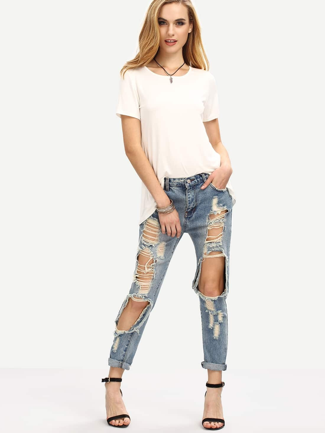 distressed boyfriend jeans emmacloth women fast fashion online. Black Bedroom Furniture Sets. Home Design Ideas