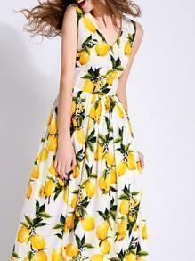 White V Neck Lemons Print Maxi Dress