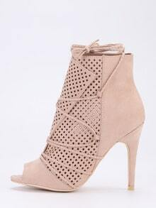 Laser-Cut Lace-Up Peep Toe Heels - Apricot