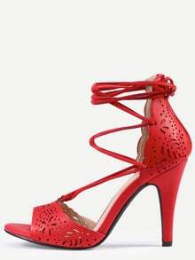 Laser-Cut Lace-Up Peep Toe D'orsay Pumps - Red