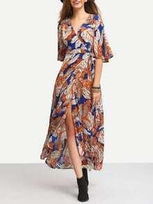 Multicolor Print Tie-waist Wrap Maxi Dress