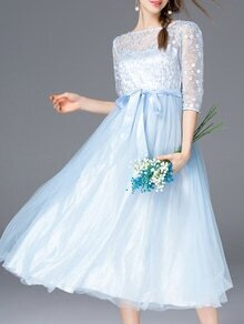 Blue Gauze Embroidered Tie-Waist Dress
