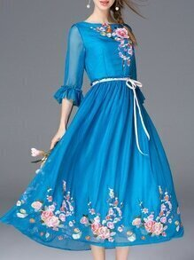 Blue Bell Sleeve Embroidered Tie-Waist Dress