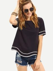Black Waved Print Trim Short Sleeve T-shirt