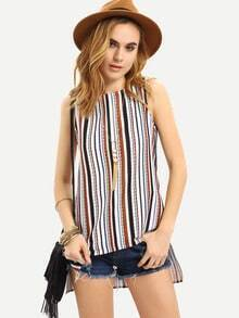 Multicolor Striped Split Side Tank Top