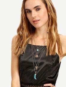 Layered Geometric-Shaped Turquoise Pendant Necklace