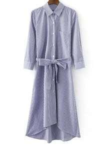 Blue White Stripe Buttons Front Tie-Waist Bow Shirt Dress