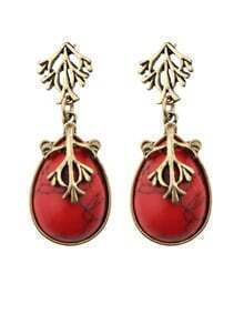 Red Drop Turqoise Earrings