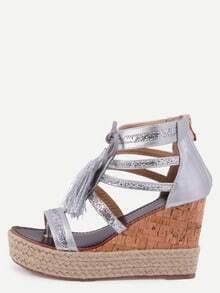 Silver Fringe Wedges Sandals
