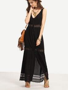 Lace Trimmed Buttoned Front Long Tank Dress