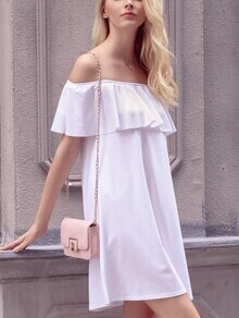 Ruffled Off-The-Shoulder Shift Dress