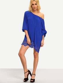 Blue Boat Neck Pleated Hollow Shift Dress