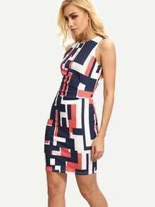 Multicolor Sleeveless Geometric Print Bodycon Dress