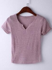 Pink Short Sleeve V Neck Ribbed T-shirt