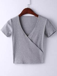 Grey Short Sleeve Cross V Neck T-shirt