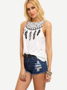 White Feather Print Tank Top