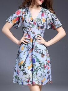 Periwinkle V Neck Tie-Waist Floral Dress