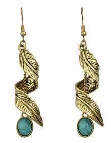 Gold Turquoise Leaf Drop Earrings
