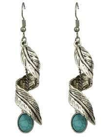Silver Turquoise Leaf Drop Earrings