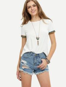 Beige Short Sleeve Embroidered T-shirt