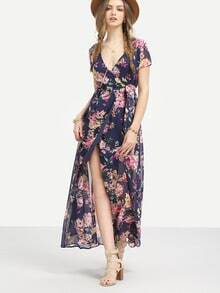 Multicolor Flower Print V Neck Split Chiffon Dress