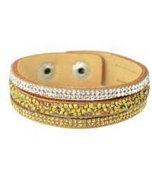 Champagne Wide Pu Leather Bracelet